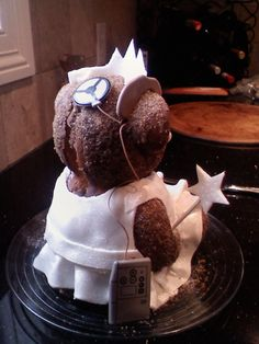 """Bear cake with a cochlear implant. Fun for their """"hearing birthday"""""""