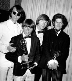 I loved The Monkees when I was a little girl ~ this photo was taken at the Emmy Awards. They won an Emmy for their TV show. (Left to Right) Mike Nesmith, Davy Jones, Peter Tork and Micky Dolenz Michael Nesmith, Peter Tork, This Is Your Life, Pop Rock Bands, Davy Jones, The Monkees, Life Pictures, Classic Tv, Classic Rock