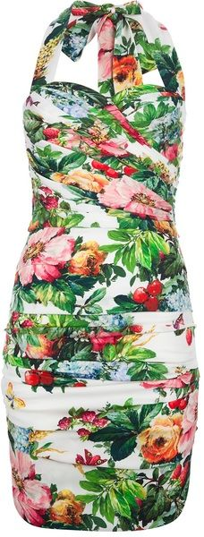 Halterneck Fitted Dress - DOLCE & GABBANA. LOVE the style, but not 100% sure on the floral print.