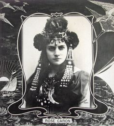 Antique opera star photo postcard, Rose Caron with head jewelry 1900s