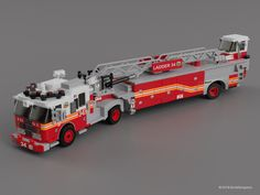 """FDNY Ladder 34 - """"Tiller Truck""""The model was created to minifig scale, and it requires 895 bricks/pieces, either within your Lego collection or can be purchased online. Lego City Fire Truck, Lego Truck, Toy Trucks, Fire Trucks, Lego Fire, Lego Police, Lego Projects, Custom Lego, Emergency Vehicles"""