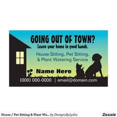 House / Pet Sitting & Plant Watering Business Cards