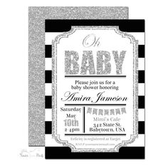 Amira - Black and Silver Glitter Baby Shower Invitation | www.foreveryourprints.com