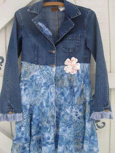 Boho jacket, denim blazer, rustic jacket dress, pretty feminine