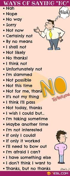 NO Synonym! List of many different Ways to Say NO in English with ESL pictures. Learn these useful synonyms for NO to increase your English vocabulary and improve your communication skill. English Vocabulary Words, Learn English Words, English Idioms, English Phrases, English Grammar Rules, Learn English Speaking, Grammar Lessons, Slang English, English Quotes