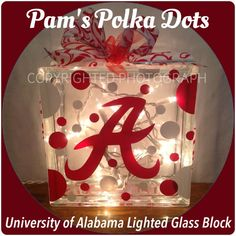 DIY Make one with a WSU logo instead! Glass block from Lowes with xmas lights! Alabama Decor, Alabama Crafts, Alabama Room, Painted Glass Blocks, Lighted Glass Blocks, Christmas Glass Blocks, Football Crafts, Football Decor, Glass Block Crafts