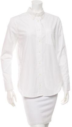 White Veda long sleeve top with single pocket at bust, dual zip pockets at sides and multiple button closures at center front. Long Sleeve Tops, Button Up, Ruffle Blouse, Stylish, Clothes, Women, Fashion, Outfit, Clothing