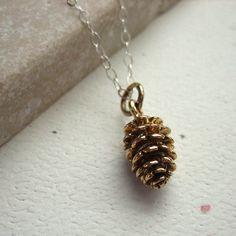 Gold Pine Cone Necklace Bronze and Sterling Silver Simple Nature Jewelry