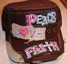 Chocolate  Peace, Love, Faith Military Cap