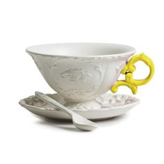 Seletti - I-Tea Set tasse à thé porcelaine anse jaune – Design Selab