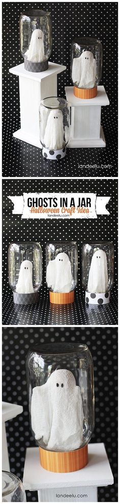 "BEST Do it Yourself Halloween Decorations {Spooktacular Halloween DIYs, Handmade Crafts and Projects!} Adorable ""Ghosts in a Jar"" Halloween Decorations Craft DIY Tutorial Spooky Halloween, Halloween Geist, Bonbon Halloween, Halloween Mason Jars, Halloween Projects, Mason Jar Diy, Holidays Halloween, Halloween Party, Diy Projects"
