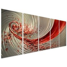 Dance of Joy Red Metal Wall Art Decor - Large Abstract Set of 5 Panels - Hanging Sculpture for Kitchen or Bedroom - 64    Sophisticated, Trendy and Modern Canvas Wall Art    Elevate and transform your home into the paradise of your dreams with funky, cool and modern canvas wall art.  You will appreciate how bold bright colors along with beautiful flowers and abstract designs can make a room stunningly beautiful.  In addition your space will fill more inviting and you can switch these around…