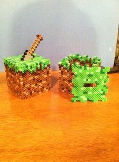 Minecraft grass block coin bank perler beads by dorkking12 on deviantART