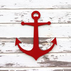 Anchor wood sign: Cute for bathroom with navy and white striped shower curtain