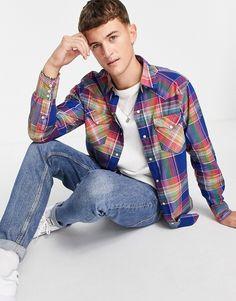 Polo Ralph Lauren madras plaid western shirt in blue/green Western Shirts, Polo Ralph Lauren, Blue Green, Teen Boy Fashion, Plaid, Jean Shirts, Polo Shirt, T Shirt, Blues