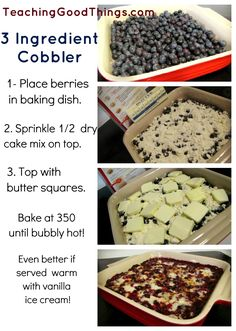 Blueberry Cobbler in 3 steps.   This is a fresh version of Blueberry Dump Cake!  Easy peasy!