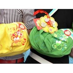 £15.00 Chupa Chups cotton shoulder bags. Available in Yellow and Green
