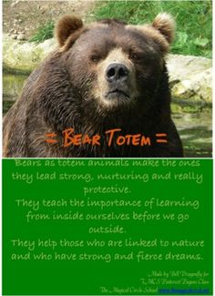 Bear Totem. Totems and Spirit Animals. Pin created by Bell Dragonfly for The Magical Circle School Class Pinterest Pagans. www.themagicalcircle.net