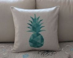 Gold Geometry Pineapple Cotton Linen Throw Pillow Cushion Cover Home Decor Caravan Decor, Pallet Couch, Cotton Linen, Geometry, Decorative Pillows, Pineapple, Cushions, Aud, Turquoise