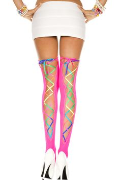 Only $14.95! Sexy and fun neon pink thigh hi stockings with rainbow ribbon lace along the back...  perfect for that rave or rainbow party!!  http://julbie.com/accessories/rainbow-ribbon-lacing-and-pink-opaque-thigh-hi-stockings/