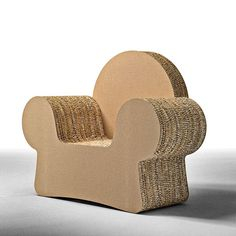 MICKEY, Design armchair made of cardboard, with armrests