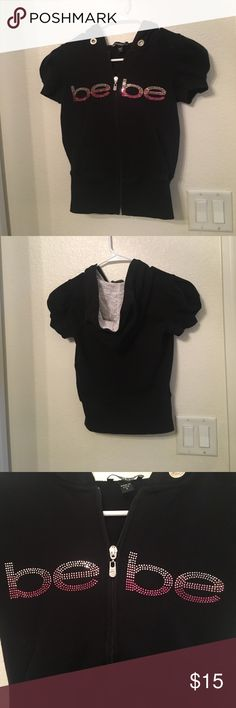 Bebe ShortSleeve Hoodie In good condition bebe Tops Sweatshirts & Hoodies