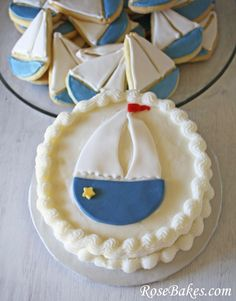 Sailboat Smash Cake.  Click over to see the matching BIG cake and cookies!