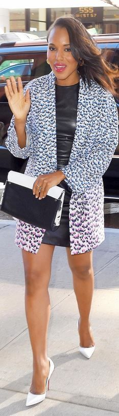 Who made Kerry Washington's white pumps, black leather dress, and print coat that she wore in New York?