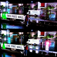 """""""The mall where Marty McFly meets Doc Brown for their time travel experiment is called 'Twin Pines Mall'. Doc Brown comments that old farmer Peabody used to own all of the land, and he grew pines there. When Marty goes back in time, he runs over and knocks down a pine tree on the Peabody's property. When he comes back to the mall at the end of the film, the sign at the mall identifies the mall as 'Lone Pine Mall'."""" - FilmTrivia"""