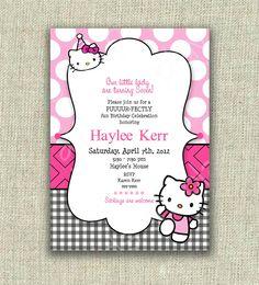 Hello Kitty Birthday Invitation Party Pink Black Check Dots Printable