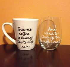 Coffee &Wine glass set by PenEndeavors on Etsy, $22.50