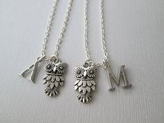 2 Fancy Owl Initial, Best Friends Necklaces