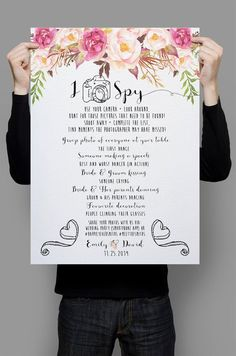 iSpy Wedding Game table sign customized Floral wedding poster outdoor decor DIY wedding decoration digital files - Printable iSpy Wedding Game table sign by HappyLifePrintablesPrintable iSpy Wedding Game table sign by HappyLifePrintables Indian Wedding Games, New Wedding Games, Wedding Signs, Wedding Events, Wedding Ideas, Weddings, Wedding Table, Wedding Stuff, Outdoor Christmas Decorations