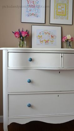 Picked & Painted . . Love that it is white with blue handles