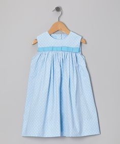 Take a look at the Light Blue Polka Dot Bow Float Dress - Infant on #zulily today!