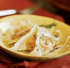 Butternut squash ravioli with rosemary oil