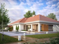 Find home projects from professionals for ideas & inspiration. AMBROZJA 7 by Biuro Projektów MTM Styl - domywstylu. Modern Family House, Modern Bungalow House, Small Modern Home, Bungalow Homes, Model House Plan, House Plans, Bungalows, Interior Paint Colors For Living Room, Village House Design