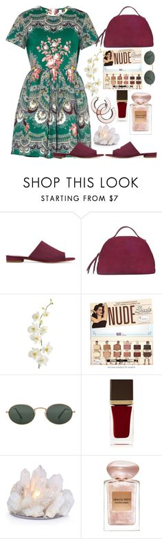 """"""""""" by burcaak ❤ liked on Polyvore featuring MSGM, Mansur Gavriel, Borbonese, Pier 1 Imports, Ray-Ban, Tom Ford, Giorgio Armani and dress"""