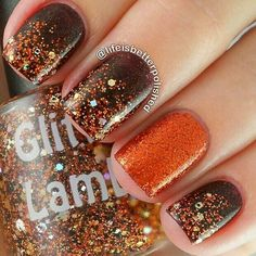 Fall nail art with glitter ||  | Ledyz Fashions || www.ledyzfashions.com