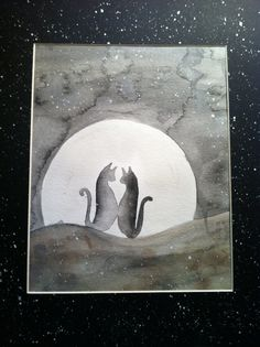 Love cats in the moonlight water color by thisthatandthese on Etsy, $44.00