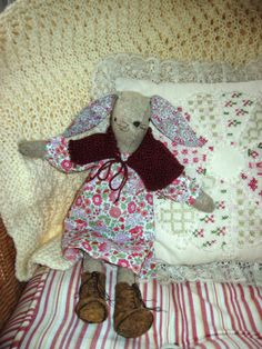 Alicia Paulson's beautiful Miss Maggie Rabbit pattern and kit and made by Beanniequilts Sewing Kit, Getting Cozy, New Pins, Rabbits, Bunny, Teddy Bear, Easter, Child, Dolls