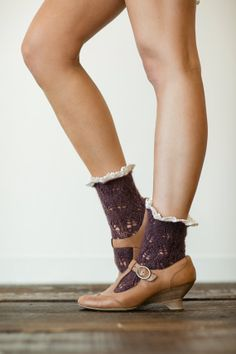 Short Boot Socks, Hosiery, Accessories, Knit, PLUM Lace Trim Bohemian Accessories on Etsy, $28.00