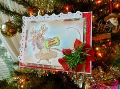 Dear Mouse Card with tutorial using mouse from Deer Christmas Digital Stamp Set by Crafty Secrets. Also includes link to an adorable free Christmas printable postcard.
