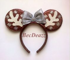Winter Reindeer Sparkly Mouse Ears headband by EarzbyBecDeazz