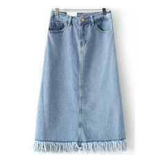 SheIn(sheinside) Blue Pockets Fringe Denim Skirt ($18) ❤ liked on Polyvore featuring skirts, blue, blue denim skirt, long a line skirt, blue skirt, long fringe skirt and pocket skirt