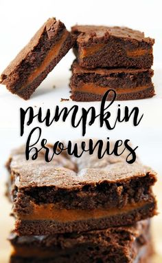 Perfect brownies with a layer on pumpkin in the middle. Pumpkin Brownies, Best Brownies, Brownie Recipes, Cake Recipes, Dessert Recipes, Good Food, Yummy Food, Pumpkin Dessert, Thanksgiving Desserts