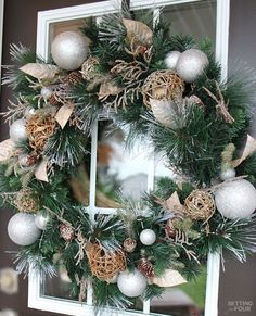 Welcome to my Woodland Chic Christmas home tour with Country Living Magazine! See my Christmas front door wreath and get tons of decor ideas using glam, shimmer, metallics and shine mixed with lots of natural elements, woodland icons and neutrals! www.settingforfou...
