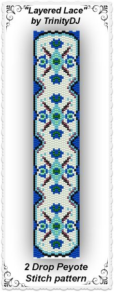 "New pattern listed in my Etsy shop:  ""Layered Lace"" - 2 Drop Peyote Stitch Bracelet Pattern - One of a kind lace bead design. Available as direct download. Please follow this link for more info: https://www.etsy.com/listing/166700076/bp-art-021-layered-lace-2-drop-peyote?ref=listing-shop-header-4"