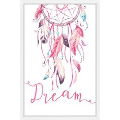 'Pink Dreamcatcher' Framed Painting Print