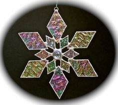 stained glass snowflake suncatcher design 1 by bitsandglassart